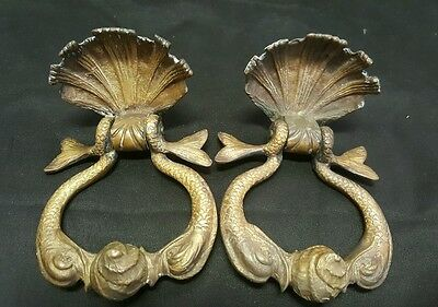 2 Antique Sea Serpent French Door Knockers - Bronze