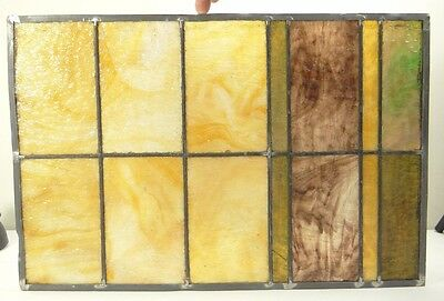GEOMETRIC RECTANGULAR LEADED-STAINED GLASS WINDOW~HEAVY OBSCURITY~Art Deco 22x15 2