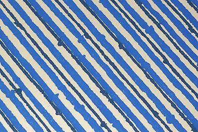 Mid Century Modern Wallpaper Vintage Blue Pinstripe Pop Art