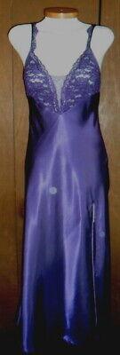 Victoria Secret S Purple Long Nightgown Slit Gown Satin Woman Lace Small Vintage 2