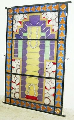 Unusual Asymmetrical Art Deco Leaded & Stained Glass Window #6406 3