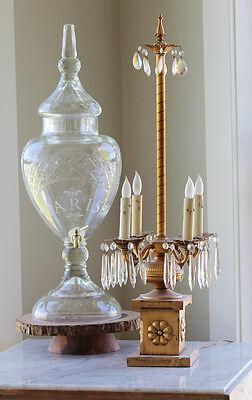 Antique Italian Gilt Girandole Table Chandelier Crystals 2