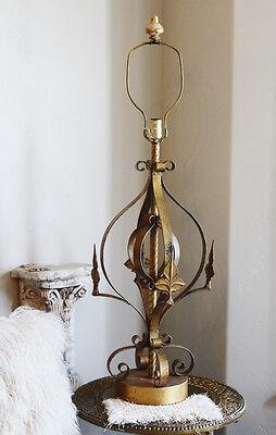 Antique Fleur De Lis Italian Tole Lamp Beautiful Vintage Large 3