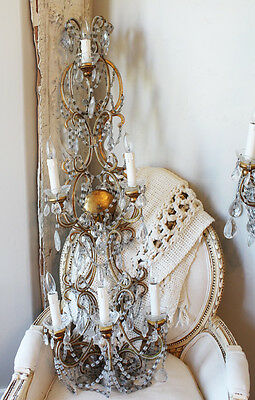 Antique Rare Pair Italian Beaded 4 Foot Wall Sconces Gorgeous 3