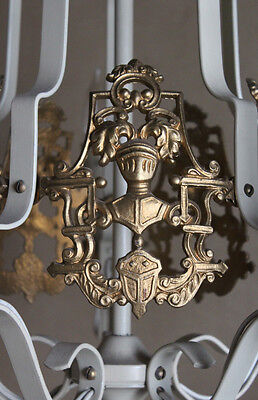 Rare Coat of Arms French Antique Painted Ormolu Gilt Chandelier Vintage Antique 2
