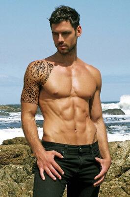 Temporary Tattoo Tribal Maori Polynesian Turtle Black Shoulder Arm Mens Womens 3
