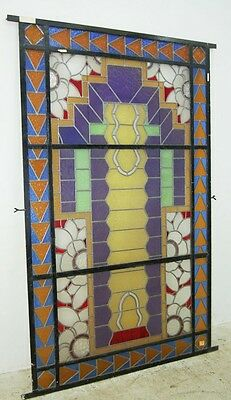 Unusual Asymmetrical Art Deco Leaded & Stained Glass Window #6406 4