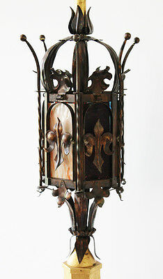 Antique Italian Tole Crown Table Lamp w/Stained Glass Vintage Gilt Metal 2