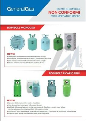 Bombola Gas Refrigerante Condizionatori R134A Da 12 / 2,5 / 0,9 Kg Conforme Eu 7