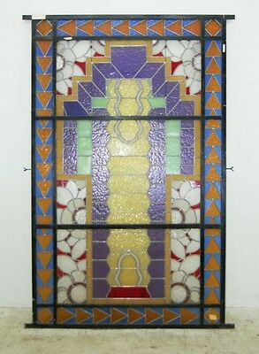 Unusual Asymmetrical Art Deco Leaded & Stained Glass Window #6406 2