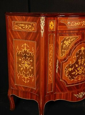 Pair French Empire Cabinets Chests Marquetry Inlay