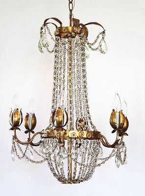 Antique Italian Tole Macaroni Beaded Empire Chandelier Rare 3 • CAD $2,466.46