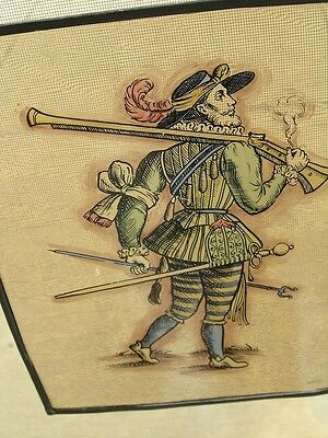 Antique Stained Glass German Military Lansquenet Foot Soldier Hand Painted 3