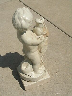Rare Early Antique Glazed Terracotta Architectural Fountain Centr Putti Boy Fish 5