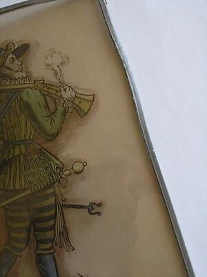 Antique Stained Glass German Military Lansquenet Foot Soldier Hand Painted 12