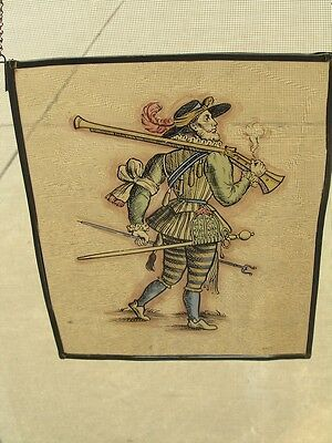 Antique Stained Glass German Military Lansquenet Foot Soldier Hand Painted 2