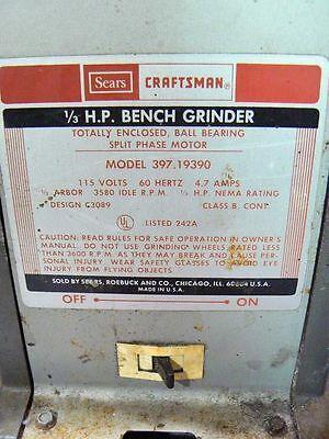 Miraculous Sears Craftsman 1 3 Hp Bench Grinder Model 397 19390 Beatyapartments Chair Design Images Beatyapartmentscom