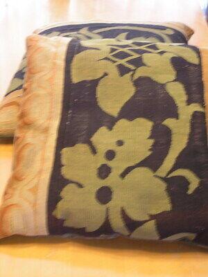 """Pair of Antique Aubusson Tapestry Huge Pillows 22x22x5"""" / 55x55x13cm Velvet Back 2"""