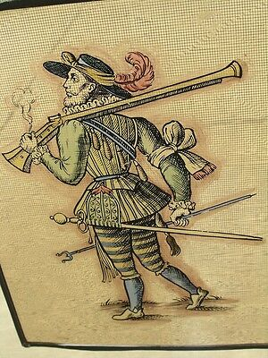 Antique Stained Glass German Military Lansquenet Foot Soldier Hand Painted 5 • CAD $346.50