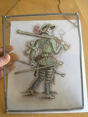 Antique Stained Glass German Military Lansquenet Foot Soldier Hand Painted 9