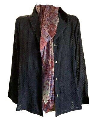 $120 New XL Skin sheer  long 100% cotton shirt top blouse 3 UK XL navy blue 2