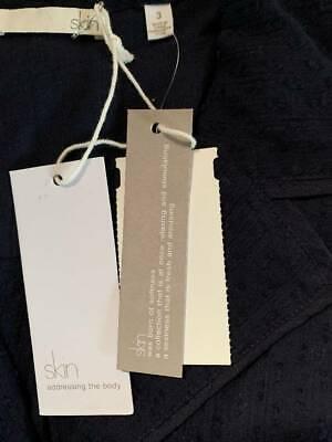 $120 New XL Skin sheer  long 100% cotton shirt top blouse 3 UK XL navy blue 9