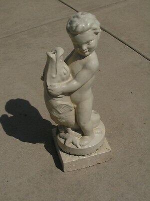 Rare Early Antique Glazed Terracotta Architectural Fountain Centr Putti Boy Fish 2