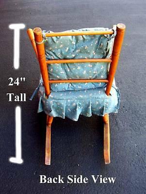 (G) VINTAGE Children's Wooden Rocking Chair ANTIQUE WITH FABRIC SEAT *No-Ship* 4
