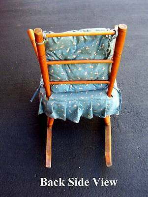 (G) VINTAGE Children's Wooden Rocking Chair ANTIQUE WITH FABRIC SEAT *No-Ship* 2