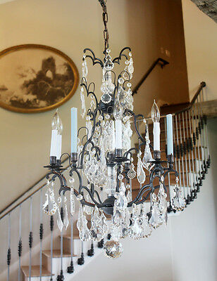 Late 1800s Incredible Antique Bronze Crystal with Spire Electric Chandelier 3