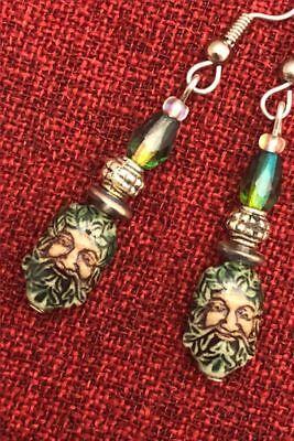 Green Man Celtic Earrings Ceramic Crystal Cernunnos Viridios Pagan Medieval 6