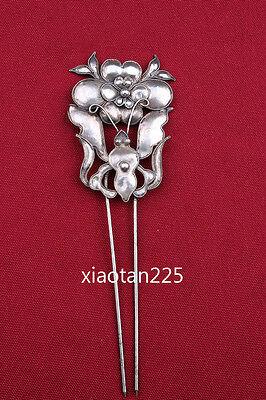 China's Ancient costume Handmade Miao Silver filigree Hairpin Headdress W601 2