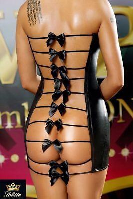 Mini abito NERO EFFETTO PVC aperto dietro fiocchetti NERO ecopelle sexy tg. L/XL 3