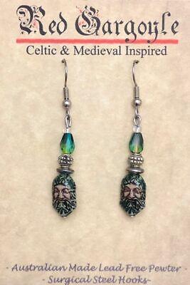 Green Man Celtic Earrings Ceramic Crystal Cernunnos Viridios Pagan Medieval 2