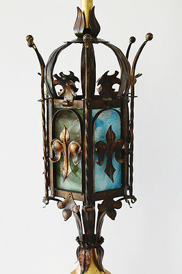 Antique Italian Tole Crown Table Lamp w/Stained Glass Vintage Gilt Metal 3