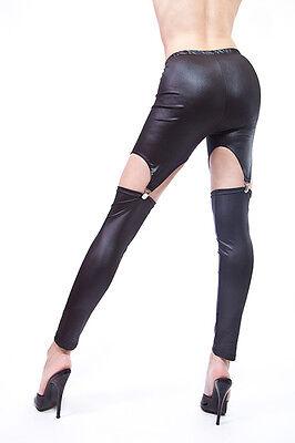 Strapsleggings in Leder Look /  Suspender Leggings 3