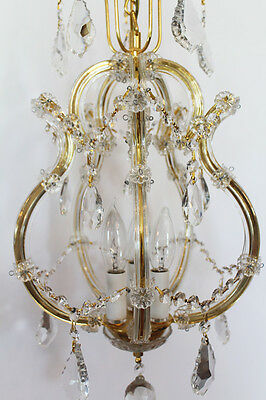 Beautiful Crystal Birdcage Style Vintage Chandelier 2