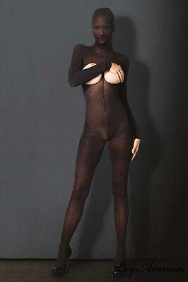 Sexy Bodystocking Integrale Cappuccio Nero Coprente Cavallo Aperto Seno Nudo Os 4