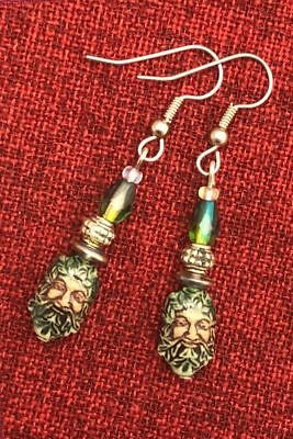 Green Man Celtic Earrings Ceramic Crystal Cernunnos Viridios Pagan Medieval 8