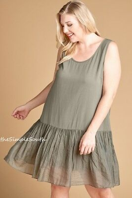 NWT ODDI Long Sheer Pleated Ruffle Hem Solid Tank Top Dress Extender Slip Liner