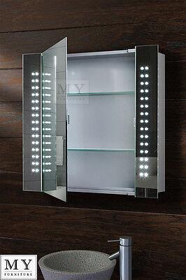 60 led bathroom mirror cabinet bluetooth shaver demister sensor