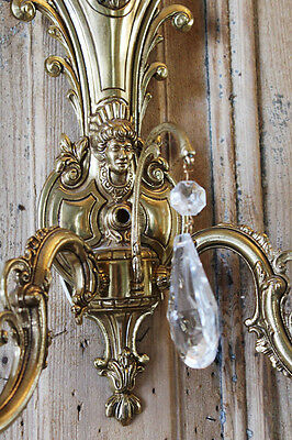 Antique Incredible Pair Brass 2 Arm Wall Sconces Figural Gorgeous 4