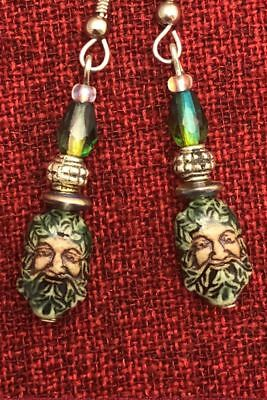Green Man Celtic Earrings Ceramic Crystal Cernunnos Viridios Pagan Medieval 4