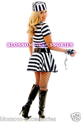 2 of 3 F80 Ladies Prisoner Jail Bird Convict Outfit Fancy Dress Halloween Costume u0026 Hat  sc 1 st  PicClick & F80 Ladies Prisoner Jail Bird Convict Outfit Fancy Dress Halloween ...
