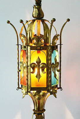 Pair Italian Tole Crown Table Lamps w/Stain Glass Antique Vintage Gilt Metal 3