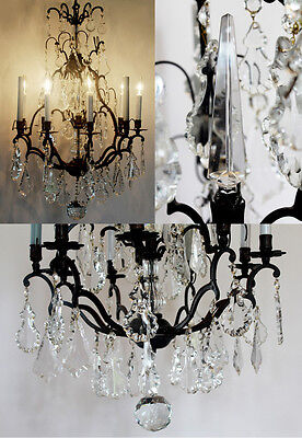 Late 1800s Incredible Antique Bronze Crystal with Spire Electric Chandelier 2