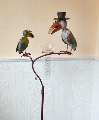 Metall bunt 20 x 15 x 131 cm Gartenstecker Regenmesser Rabe mit Hut