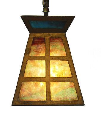 Antique Arts & Crafts Slag Glass Pendant Light 2