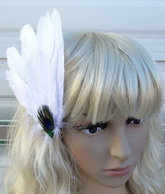 white fascinator millinery peacock feather hair clip wedding piece ascot 2