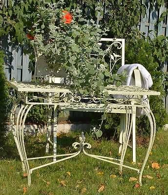 TABLE DE JARDIN Ajoure Metal Style Ancien Shabby Chic Patine Blanc Ecru  Retro